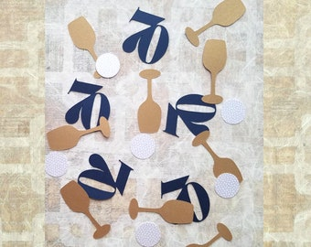 70th Birthday Confetti - 70 Party Decoration for Her or Him - Gold Shimmer Champagne Wine and Number Table Confetti Assortment