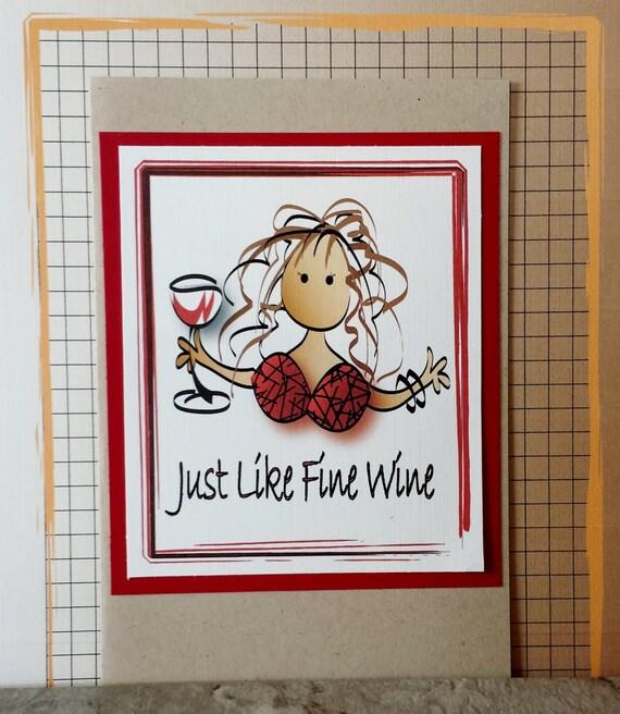 Girlfriend Birthday Card Funny Birthday Card For Her Wine Etsy