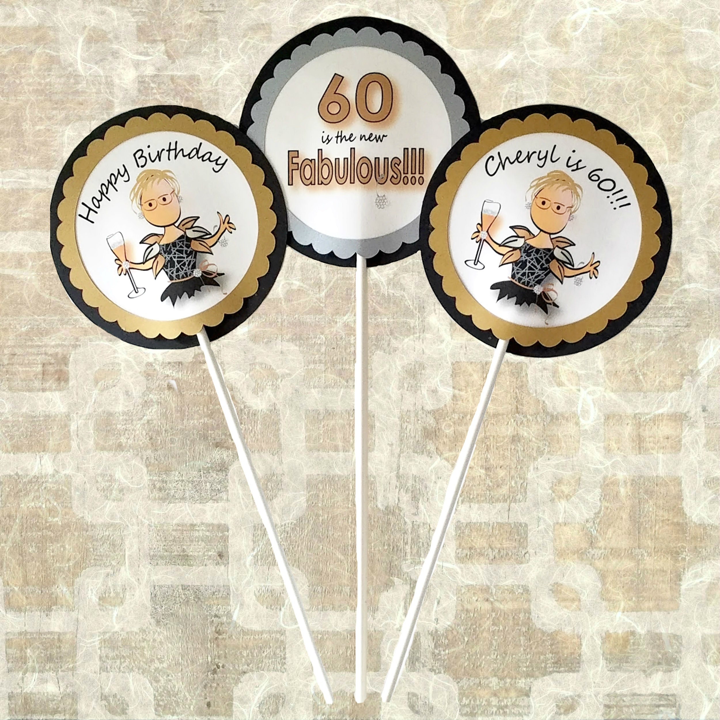 Personalized Cake Topper 60th Birthday Party Ideas 60th