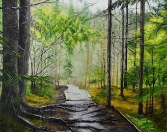 "Forest Landscape Oil Painting/ Original Artwork by Mariya Tumanova/ Canvas Panel 16""x12""/ Wall Art/ Home Decor&Gift"