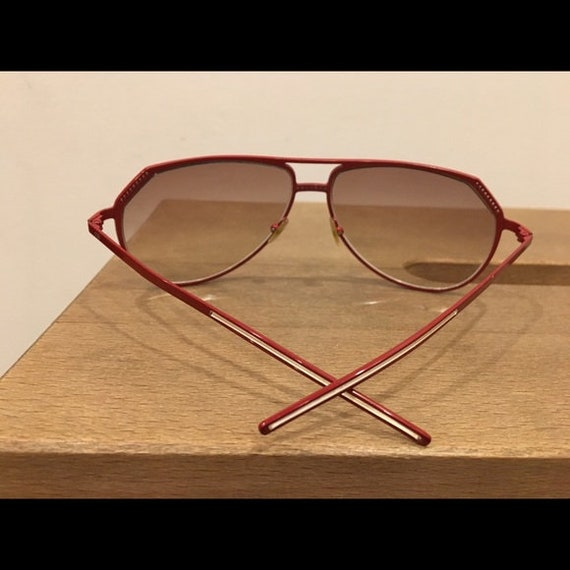 Vintage 70s Christian DIOR red metal aviator sung… - image 3