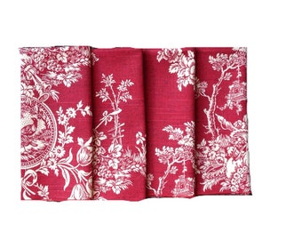 Red and White toile cloth napkins (4) 18x18