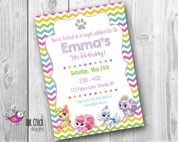 Invitación de cumpleaños de mascotas de Palacio princesa | Etsy