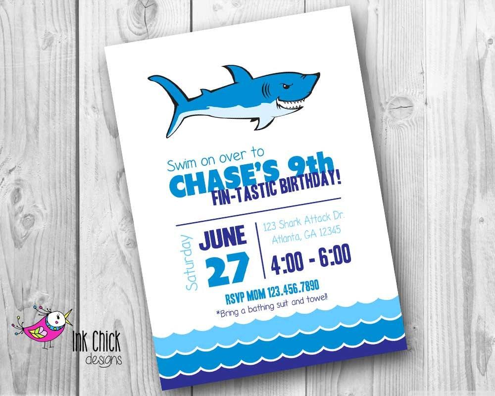 Shark Birthday Invitation Pool Party Invitation Shark Party | Etsy