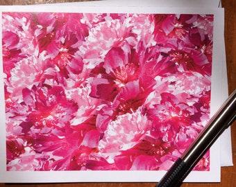 Peonies, Pink Peonies, Peony, floral set of 12 note cards, pink floral print, MJ LaCroix