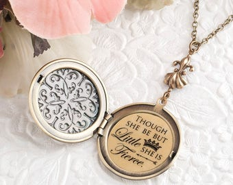 Though she be but little she is fierce Jewelry Daughter Gift Inspirational Necklace Shakespeare Jewelry Daughter Necklace Literary Jewelry