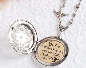 Psalm 46:5 God is within her she will not fall Bible Verse Necklace Encouragement Necklace Faith Necklace Christian Jewelry Christian Gifts