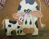 Hand-painted Wood Cows Plaque, Mother Cow and Baby Calf, Adorable, Love sentiment, Sweet Love, Baby Shower Gift