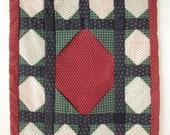 Quilted Geometric Design, Unique Hand Stitched, Man, Country Colors, Calico, Colonial Red, Colonial Green, Excellent Condition, Wall Hanging