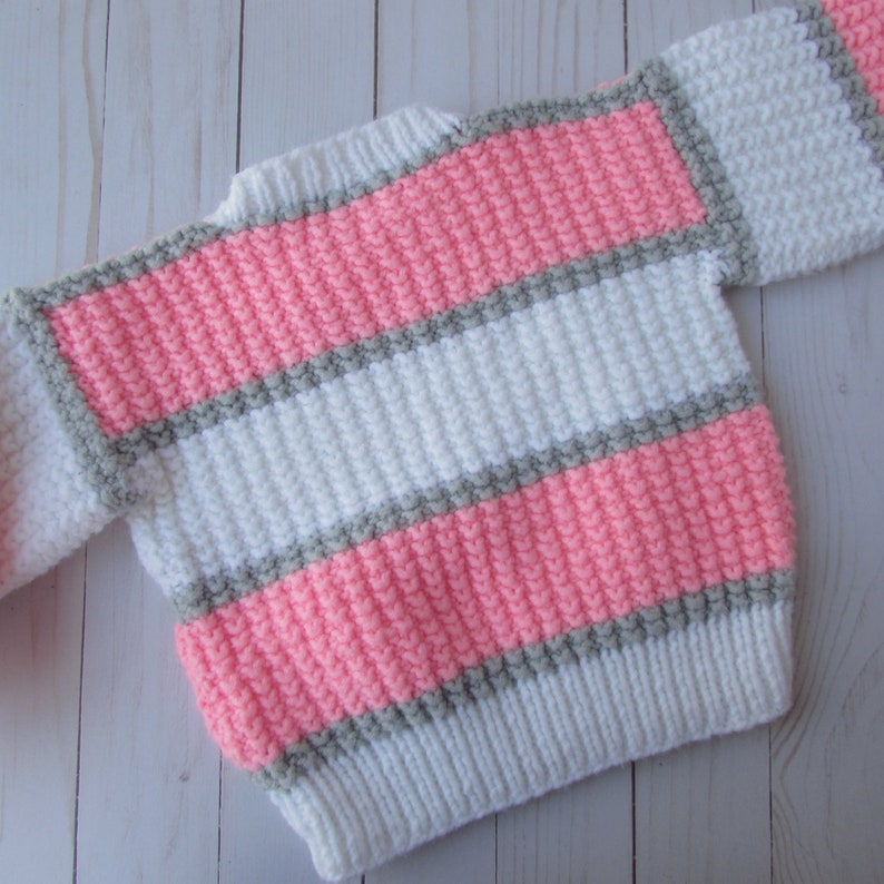 Beret Adorable Crochet Baby Girl Sweater and Hat Hot Pink Gray Size 3-6 Months White Light Weight Sweater and Hat