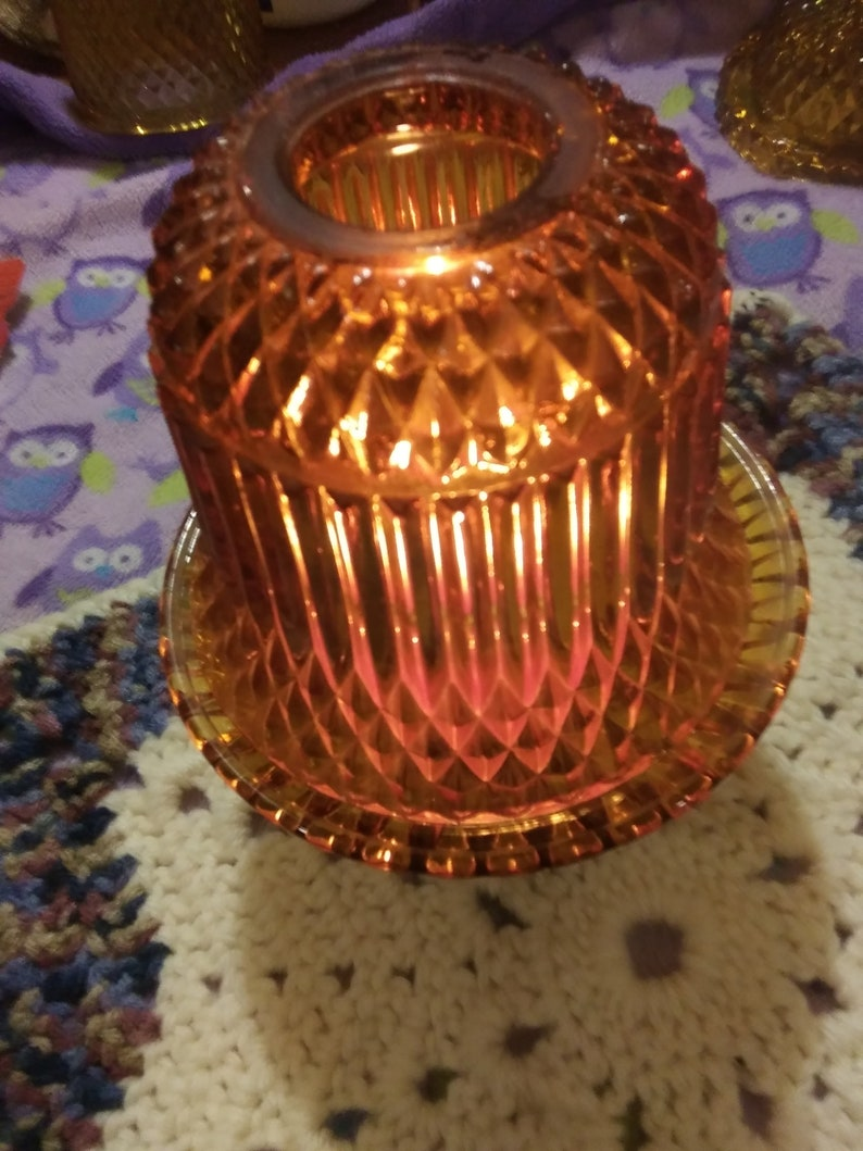 Hurricane Lamp Vintage Indiana Glass Amber Diamond Point Two Piece Fairy Light Candle Holder 6 12 High Brown Color Glass