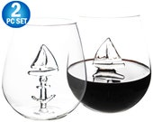 3D Sailboat Stemless Wine Glass High-end Cabernet Merlot Tumbler Nautical Ocean Red Wine Glassware - With 3D Boat Inside  - 650ml 22oz
