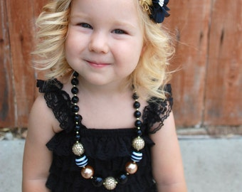 Bubblegum Girls Necklace, New Years,   bracelet, Black and Gold, Black Necklace, Gold Necklace,  Children's Necklace, Chunky Bead Necklace
