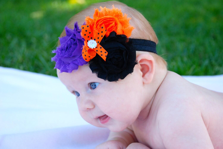 halloween headband baby headband purple orange and black | etsy
