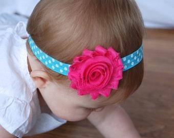 Aqua and Hot Pink headband, Blue Headband, toddler headband, baby headband, flower headband, shabby headband, hair bow