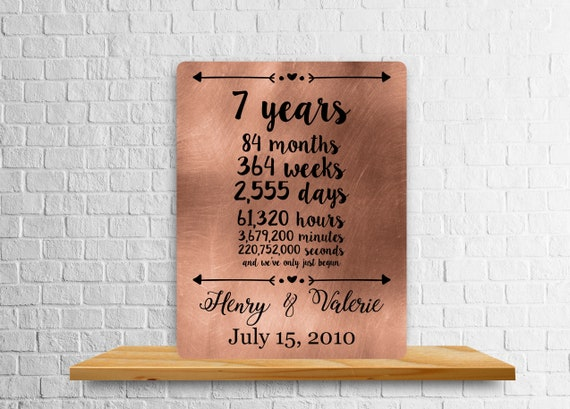 7th Anniversary Gift 7 Year Anniversary Copper Art Print Etsy