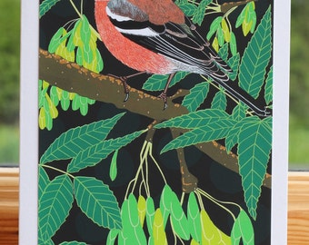 Chaffinch - Greeting card hand titled and signed