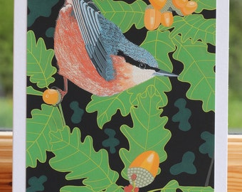 Nuthatch - Greeting card hand titled and signed