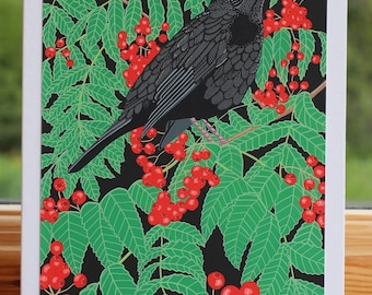 Blackbird - Greeting card hand titled and signed