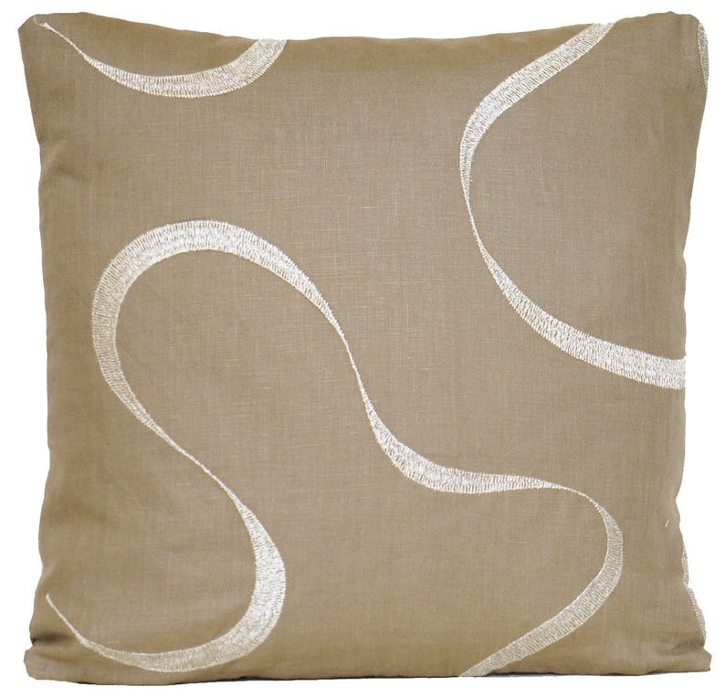 """Embroidered Carnation Cushion Cover Throw Pillow Case Vaughan Linen Fabric 16/"""""""