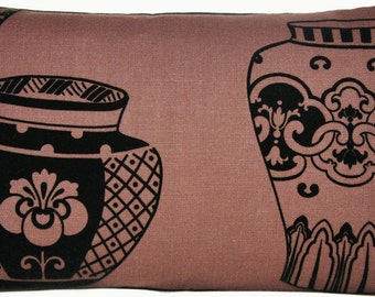 Sale 9.99 from 16.99 Asian Ming Vase Cushion Cover Brown Linen Decorative Throw Pillow Case Lorca Ming