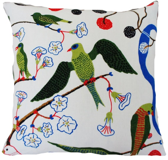Multicoloured Birds With Cages Light Canvas fabric by the metre