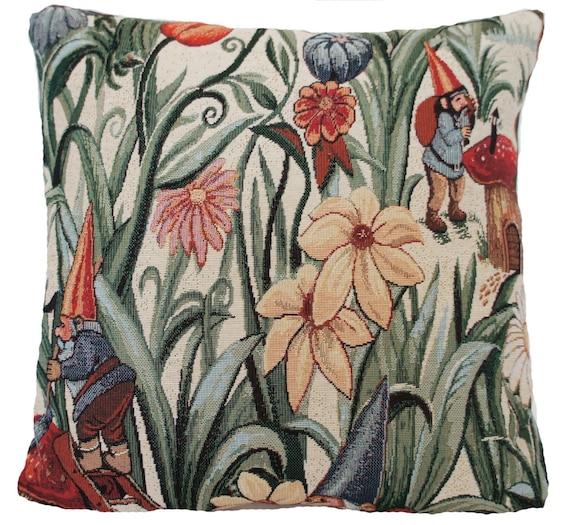 Giardino Cuscino Coprire Gnomi Funghi Farfalle Verde Beige Rosso Floreale Tessuto Tessuto 16