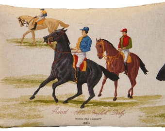 Horses Cushion Cover Rectangle Throw Pillow Case Ascot Horses Jockey Vintage Country Style Printed Cotton Fabric Design Grey Brown Black