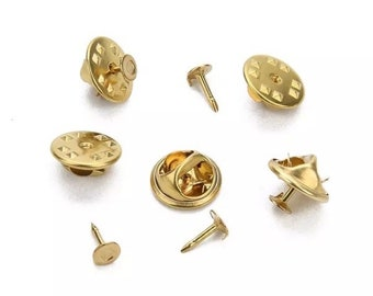 50pcs Gold Badge Tie Tacks Butterfly Pinch Back Pins Clutch Back Lapel Pin