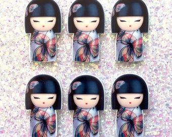 5 pcs - Kawaii Kokeshi Japanese Doll Planar Resin Flatback Cabochon - 46mm - Decoden - DIY