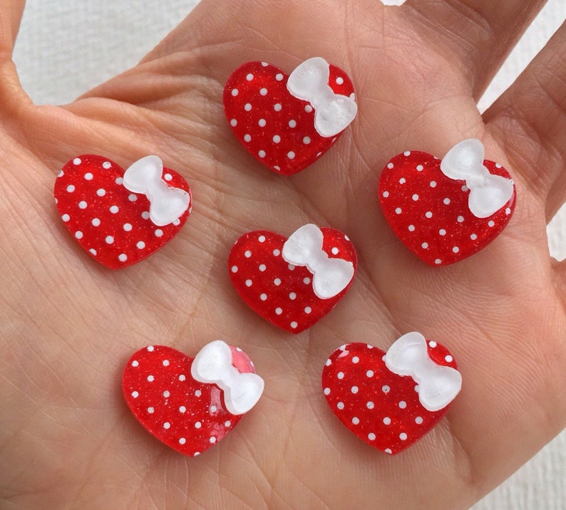 6pcs Small Glitter Heart Flatback Cabochons Embellishment Decoden Craft