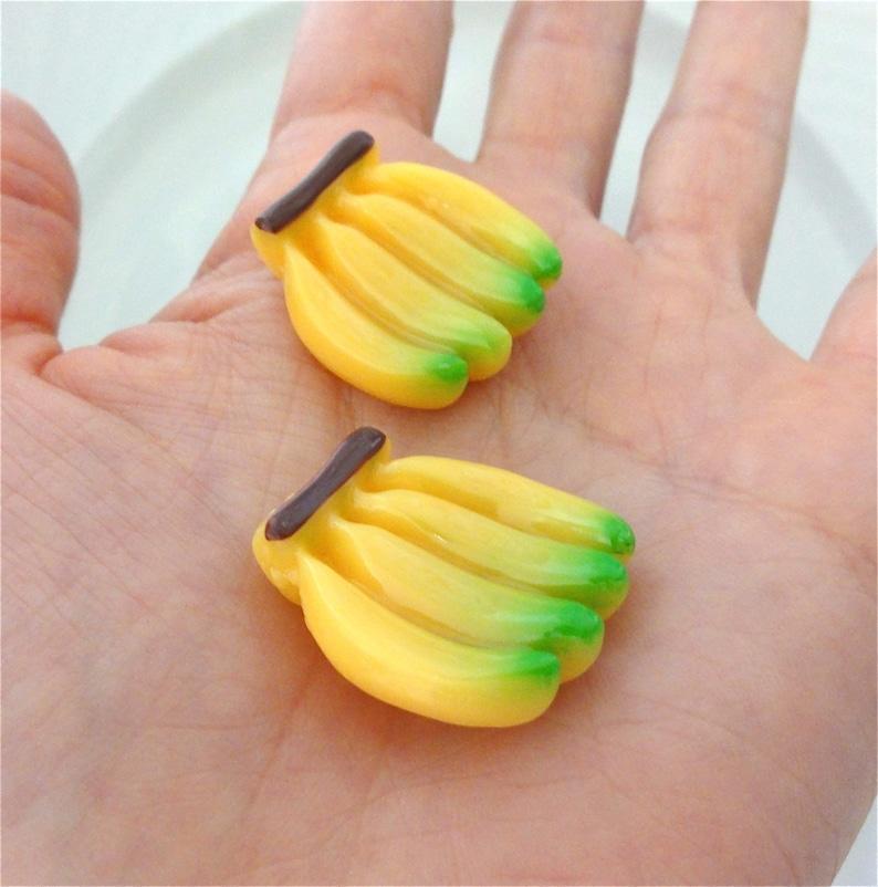 Banana Resin Flatback Cabochon Kawaii Kitsch Decoden Tropical 24mm Yellow Fruit Cabs