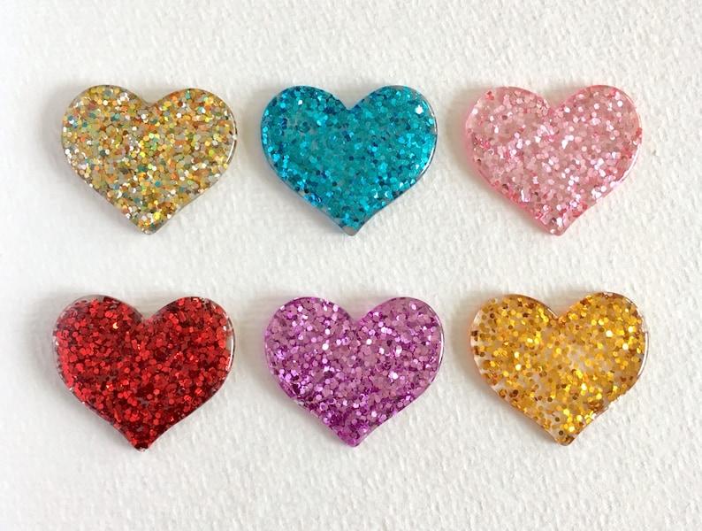5pcs Red Glitter Resin Heart Flatback Cabochons Valentines Embellishment Craft