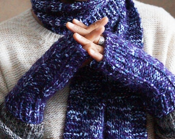 Knit Hat, Scarf, and Fingerless Glove Set