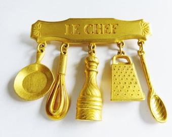 Kitchen Tools Vintage 1980 JJ stamped Gold Le Chef Dangling Pin Kitchen Brooch