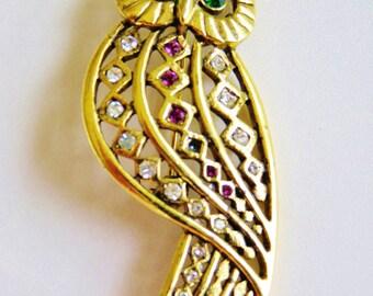 7f4bbf0d7e3 JJ Jonette Antique Gold Stunning Owl Brooch With Multiple Rhinestones Brooch  Pin