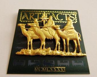 JJJonette Three Wise Men On Camels Holy Christmas Brooch Pin