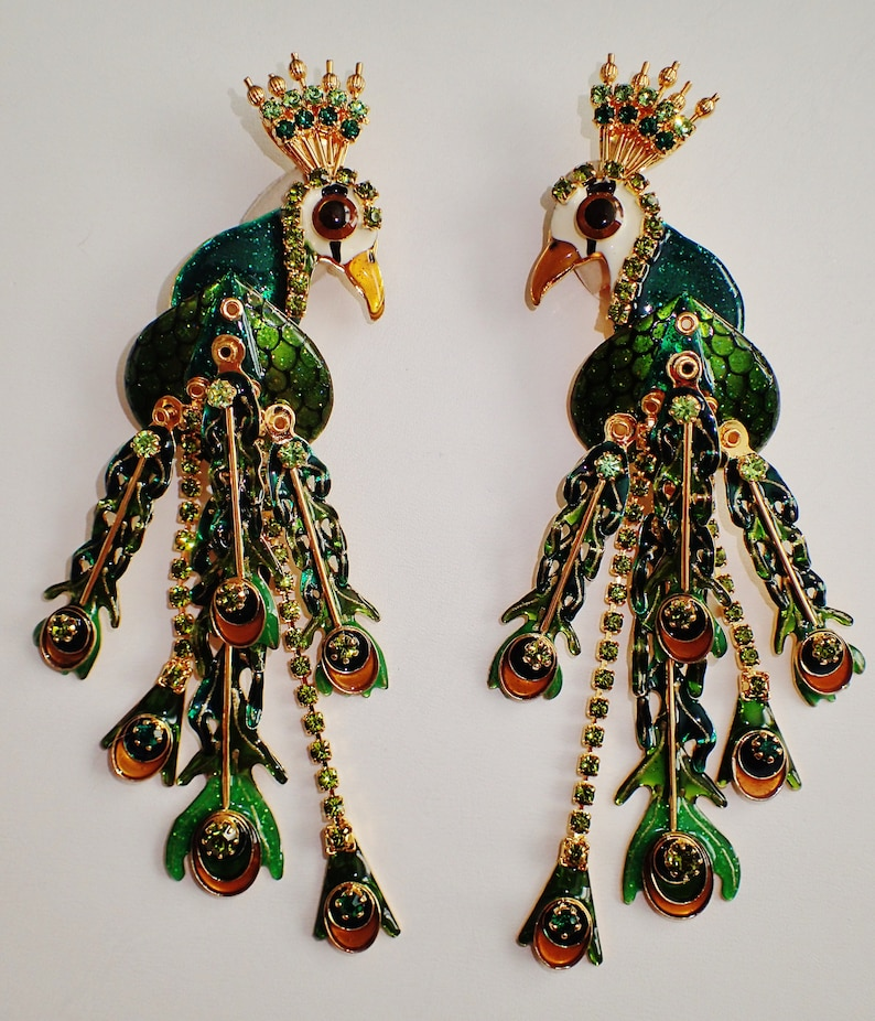 d922876990213 New Never Worn Lunch At The Ritz Green Peacock Clip Earrings   Etsy
