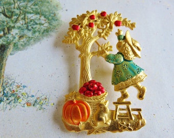 JJ Jonette Little Girl Trying to Pick Apples From Apple Tree Brooch Pin