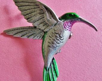JJ Jonette Silver Pewter Hummingbird Brooch Pin