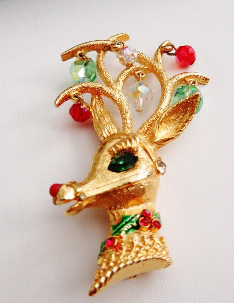 Mylu Embellished Reindeer Head Brooch Pin Book Piece