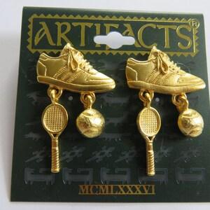 JJ Jonette Gold Tone Pewter Flying Cupid Pierced Earrings