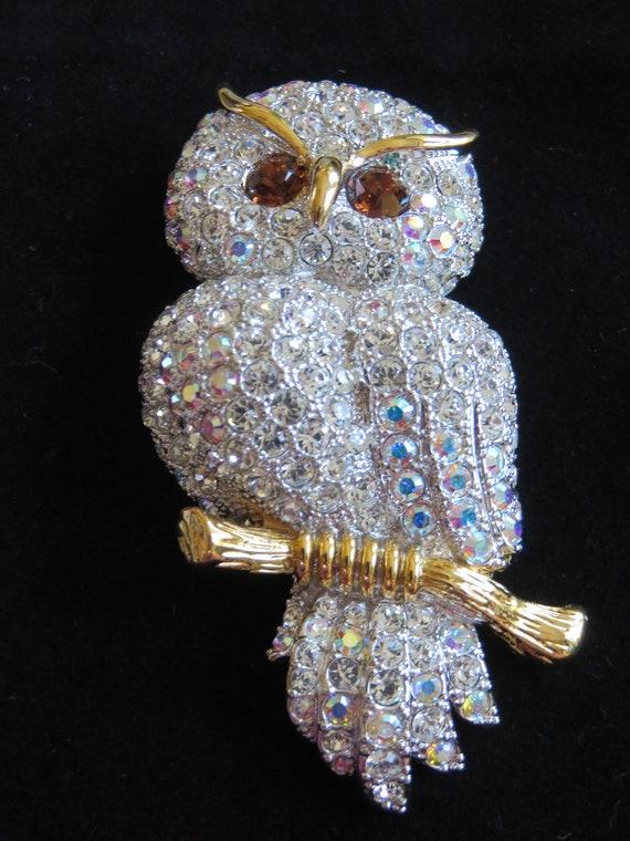Vintage Joan Rivers Snowy Owl Crystal Brooch