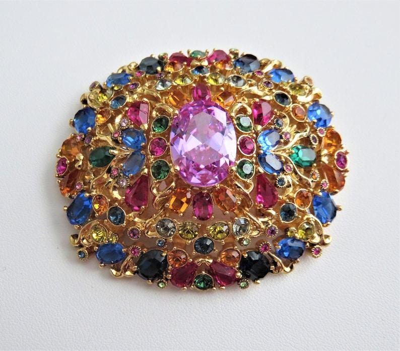 Vintage Joan Rivers Oval Spectacular Multi Colored Crystal Brooch