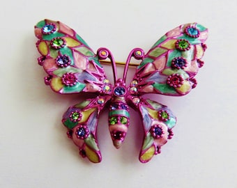 Stunning Vintage Joan Rivers Butterfly Brooch With Swarovski Crystals