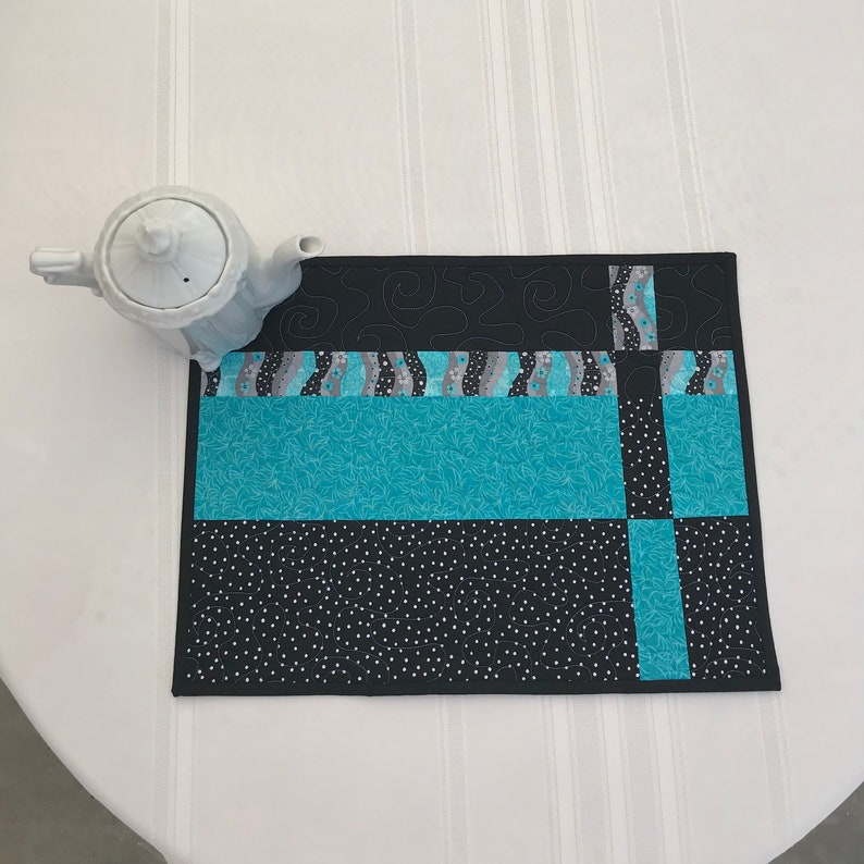 Modern Placemats Quilted Placemats Cotton QUILTED PLACEMAT SET of 4 Turquoise and Black Placemats Table Decor Handmade Placemats