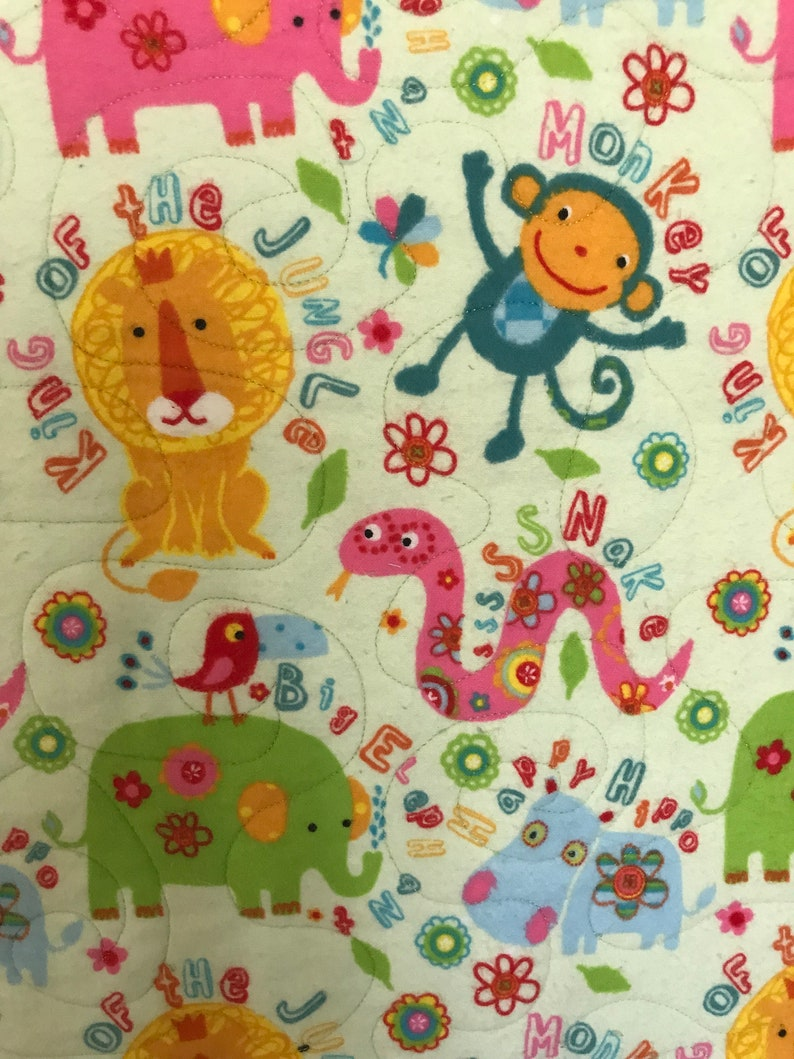 quilted baby blanket soft green quilt jungle animal quilt baby gift flannel quilted blanket SALE:  Baby Quilt Handmade