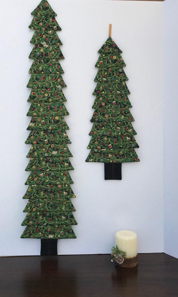 Tree Wall Hanging Embellished Fabric Christmas Tree Green Rhinestone Trim Holiday Decor