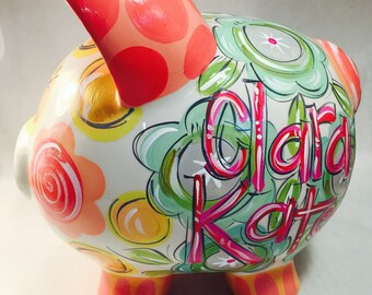 Coral, Pink, Gray, Teal and Gold Piggy Bank for Girls
