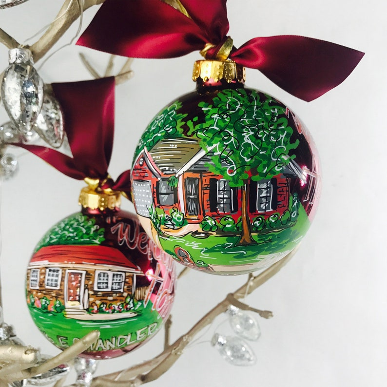 Painted house ornament New Home Gift Hand Painted Home Portrait ornament